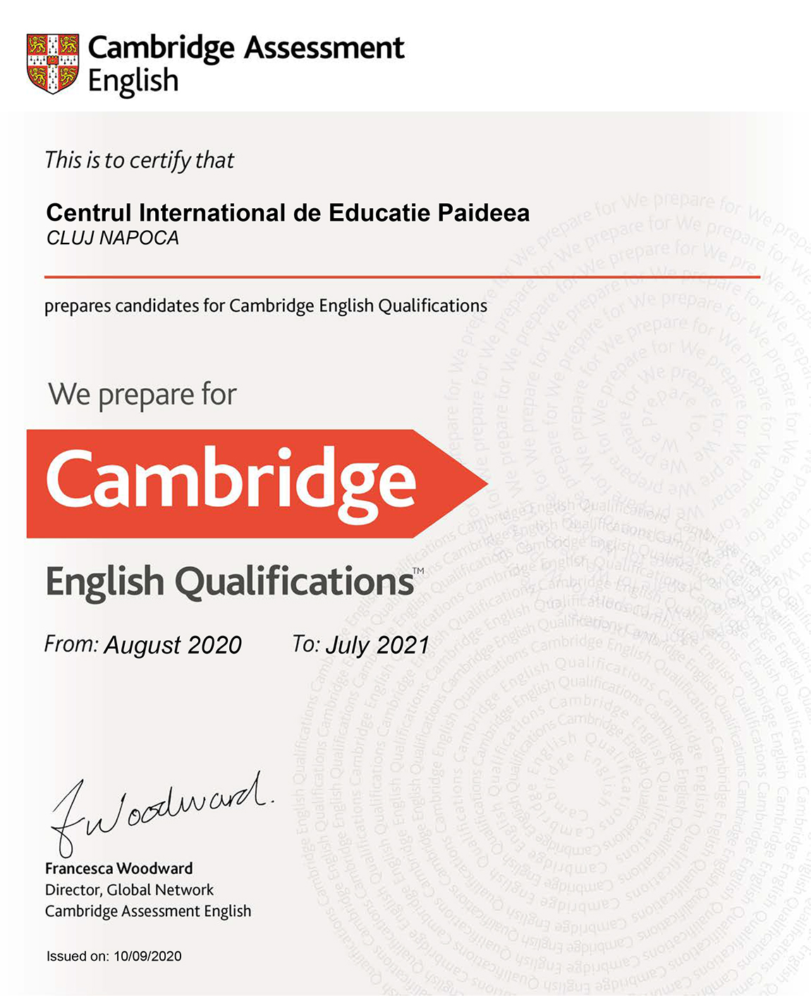2020-2021 Preparation Centre Certificate